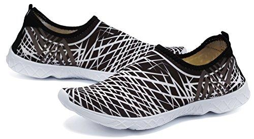 Stripy LOUECHY Water Quick Shoes Aqua on white Slip Women's Drying and Black Men's Oaw1Oq7
