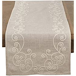 "SARO LIFESTYLE Embroidered Swirl Design Linen Blend Table Runner, 16"" x 72"", Natural"