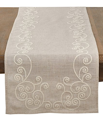 SARO LIFESTYLE Embroidered Swirl Design Linen Blend Table Runner, 16
