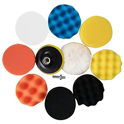 Drill Buffing Pads 11pcs 3 inch 80mm Car Buffer Compound Drill Attachment Kit(9 Sponge Polishing Pads+1 Woolen Buffer+1 Drill Adapter with Shank)