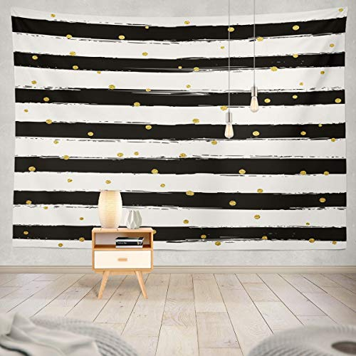 Black And Gold Fabric (Summor Tapestry Gold Striped Brush Strokes Black and White Stripe Dot Hanging Tapestries 80 x 60 inch Wall Hanging Decor for Bedroom Livingroom)