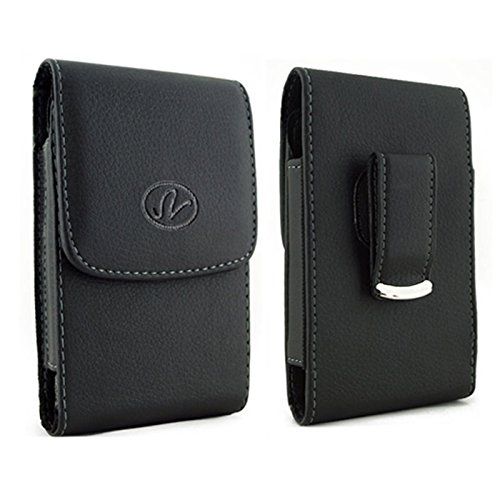 Vertical Premium Leather Carrying Case Pouch Holster with Magnetic Closure Rotating Belt Clip for Huawei Fusion 2/M835/Pal/M750 (Plus Size Will Fit to Phones with Thick Protective Cover on)