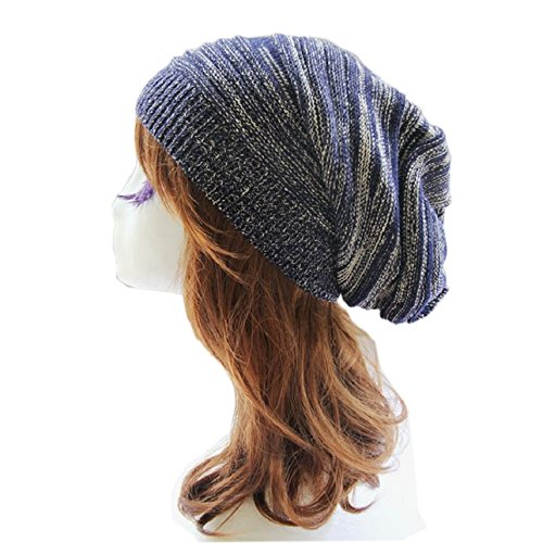 25baf5cd592 Sandistore hot sale Unisex Knit Baggy Beanie Beret Winter Warm Oversized  Ski Cap Hat (Blue