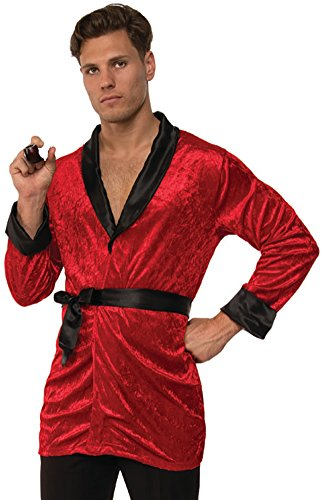 Old Rich Man Costume (Men's Red Velvet Smoking Jacket With Belt Costume X-Large)
