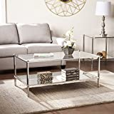 SEI Paschall Glam Rectangular Cocktail Table W/ Mirrored Shelf U0026 Glass  Tabletop