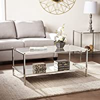 SEI Paschall Glam Rectangular Cocktail Table w/ Mirrored Shelf & Glass Tabletop