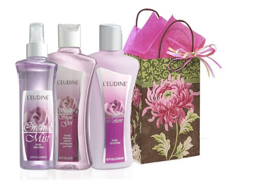 L'eudine 4-piece Orchid Scent Body Gift Set for Women: Curly Peony Gift Bag, Orchid Body Lotion, 8 fl oz, Orchid shower Gel, 8 fl oz & Orchid Body Mist, 8 fl oz by L'euidne (Image #1)