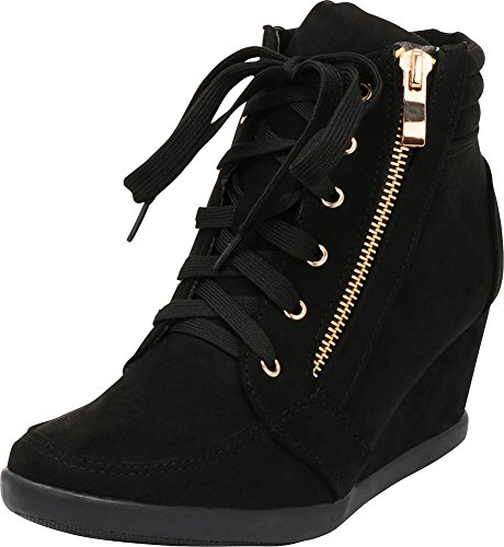 Cambridge Select Women's Zipper Lace Up Wedge Heel Fashion Sneaker (7 B(M) US, Black)