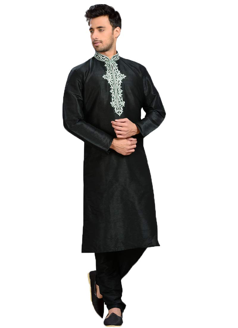Indian Royal Designer Embroidered Dhupian Art Silk Festive Wedding Wear Sherwani for Men (3477) (42, Black)