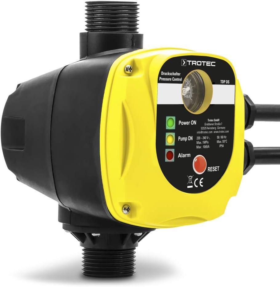 TROTEC Presostato electrónico TDP DS Para el control de bombas de jardín y agua de 1 fase sin enchufe de red Interruptor de presión automático