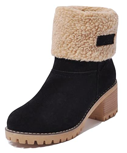 Women's Casual Warm Fleeced Pull On Round Toe Booties Winter Block Mid Heel Snow Ankle Boots Shoes