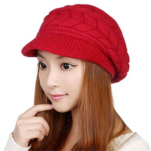 Warm Knitted Winter Hats for Women Slouchy Wool Beanie Hat Cap with Visor ()