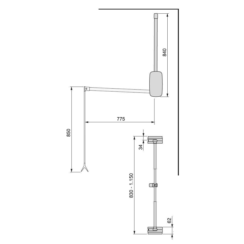 Emuca Barra, Perchero basculante, Colgador abatible para Armario, Anchura Regulable 830-1150mm, Blanco