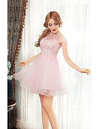 HY&OB A-Line Illusion Neckline Short/Mini Tulle Cocktail Party Prom Dress With Beading