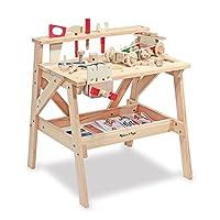 Banco de trabajo de madera maciza Melissa & Doug, proyecto de madera, Juego de imaginación, Construcción de madera resistente, Estante de almacenamiento, 26 ″ H × 18,75 ″ An x 24 ″ L