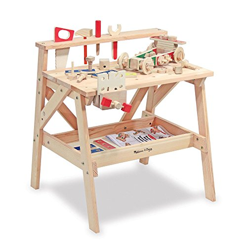 Melissa & Doug Solid Wood Project Workbench Play Building Set (Child Tool Bench)