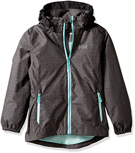Helly Hansen Girls Freya Rain Jacket, Size 10, Charcoal Print by Helly Hansen