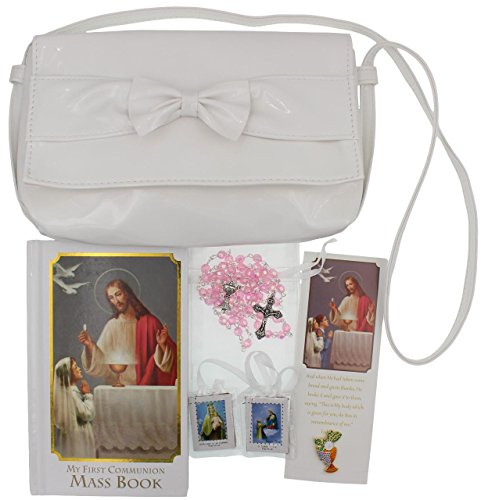 Girl First Communion Gift Set Purse, Missal, Rosary and Pouch, Scapular, Chalice Pin, Gift Box