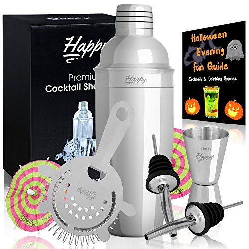 Premium Martini Shaker Set - Cocktail Mixer Kit - 24 oz Cobbler Shaker Jigger Strainer 2 Pourers and 10 Cocktail Umbrellas a Stainless Steel 304 Professional Bar Tools by Happy-li