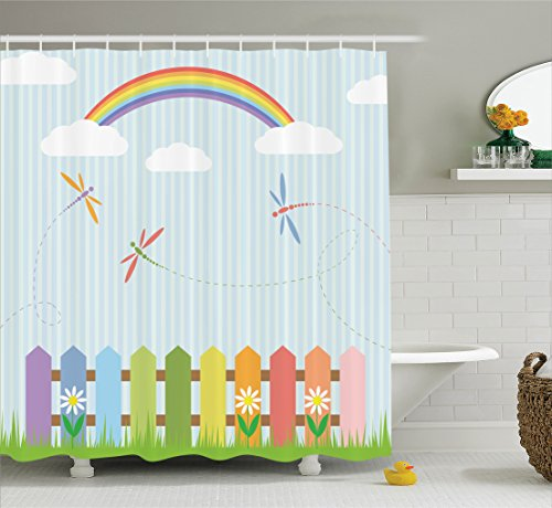 Bathroom Sunny Kids - Ambesonne Country Decor Collection, Colorful Dragonflies Drifting over Fences on a Sunny Rainbow Day Kids Nursery Striped Theme, Polyester Fabric Bathroom Shower Curtain, 75 Inches Long, Multi