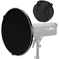 CONXTRUE 22 in / 55cm Beauty Dish Reflector Black White with Honeycomb Grid+ 55cm Carrying Bag case+ Diffuser Sock for Bowens Mount Studio Flash Strobe Monolight