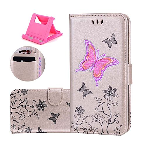 Slot x 10 8 Feature Flip 1 Color Protective Luxury X PU Free Wallet with Card Smartphone Stand iPhone Closure gold iPhone and Katech inches Stand pattern Leather butterfly R Case Case Glitter Cover Is 5 Magnetic Cover of Stand wppaqX4