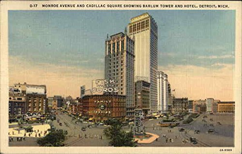Monroe Avenue and Cadillac Square Showing Barlum Tower and Hotel Original Vintage Postcard