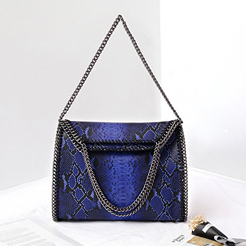 Leopard Pattern le catena Trend tracolla a Borse ABlue per donne Handbag a Snake Fold Trend Bgold wfzF8Uzq