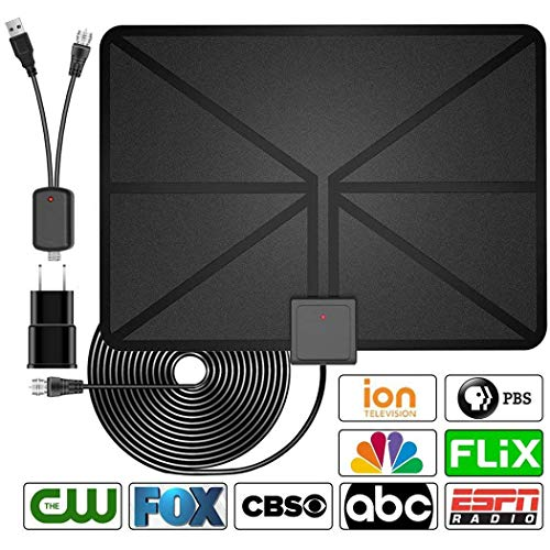 TV Antenna, Indoor Amplified HDTV Antenna 50 Mile Range with Detachable Amplifier Signal Booster and 16.5FT High Performance Coax Cable, Upgraded Version Better Reception