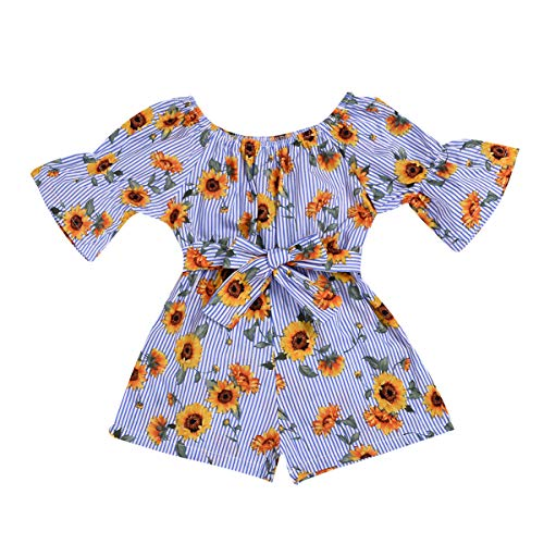 YOUNGER TREE Kids Toddler Baby Girls Summer Outfit Off-Shoulder Sunflower Overall Romper Jumpsuit Short Trousers Clothes (Sunflower, 2-3 Years)
