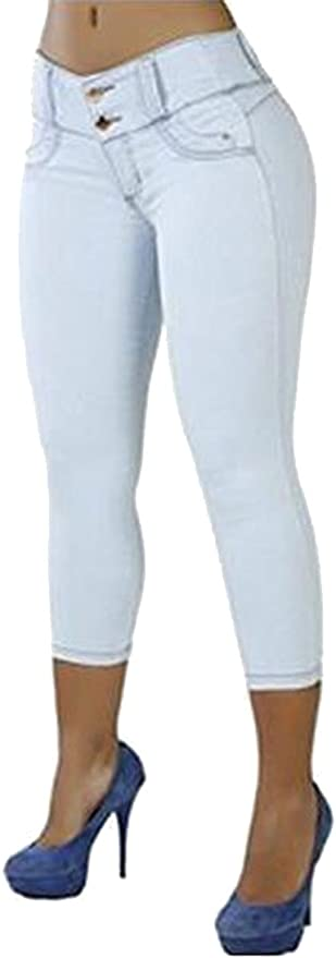 WSPLYSPJY Mens Full Elastic Waist Denim Pull On Jeans Straight Trousers Pants