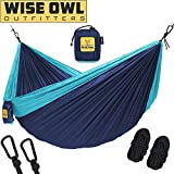 wwww Hammock for Camping – Single & Double Hammocks Gear For The Outdoors Backpacking Survival or Travel- SO Navy Blue & Light Blue-SingleOwl