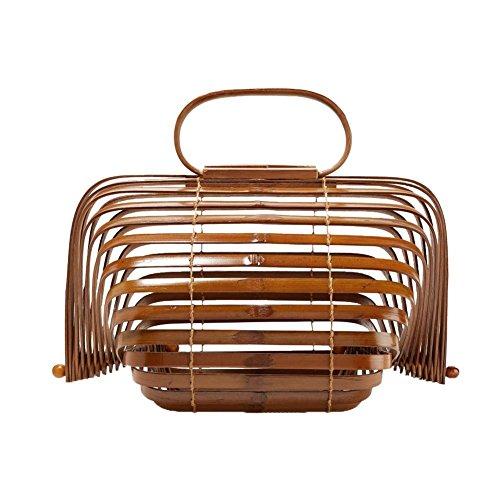 Fancylande Volte Mano Bambù Marrone Bamboo Archiviazione Spiaggia Tessitura Portatile Paglia Bag Donna Gabbia Per Borsa A Di Della Con Uccelli Sacchetto RRPxSg