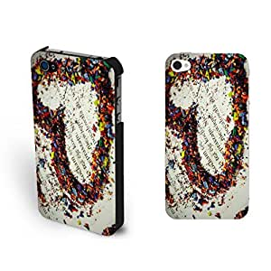 Pretty Custom Design Colorful Love Heart Iphone 4 Case Cover Hipster Book with Quotes Iphone 4s Case Skin for Girls