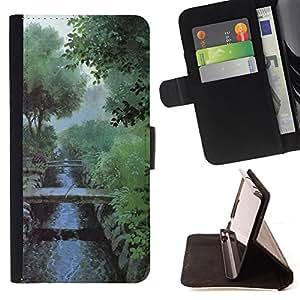 BullDog Case - FOR/HTC Desire 820 / - / Nature Misty Morning /- Monedero de cuero de la PU Llevar cubierta de la caja con el ID Credit Card Slots Flip funda de cuer