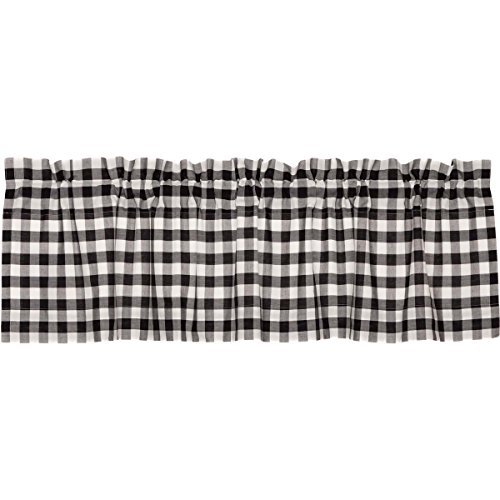 VHC Brands Farmhouse Classic Country Curtains Annie Buffalo Check Lined Valance, 16 L x 60 W, Black ()