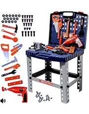 deAO Workshop and Tools Carrycase Playset Mechanic Work Bench with Fold Up Design Includes Multiple Accessories and Electric Drill