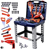 deAO WorkShop and Tools Carrycase PlaySet Mechanic Work Bench with Fold Up Design Includes Multiple Accessories and Electric Drill - BLUE