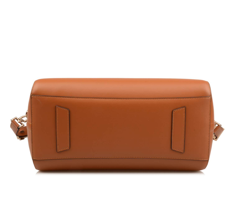 Ainifeel Women's Genuine Leather Simple Everyday Purse Top Handle Handbag Shoulder Handbags(Medium, Brown) by Ainifeel (Image #6)