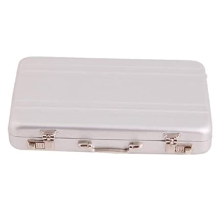 pretty nice 1ed77 d0c5d LALANG Mini Aluminum Safe Suitcase Briefcase Business Card Holder Box Case  (Silver)