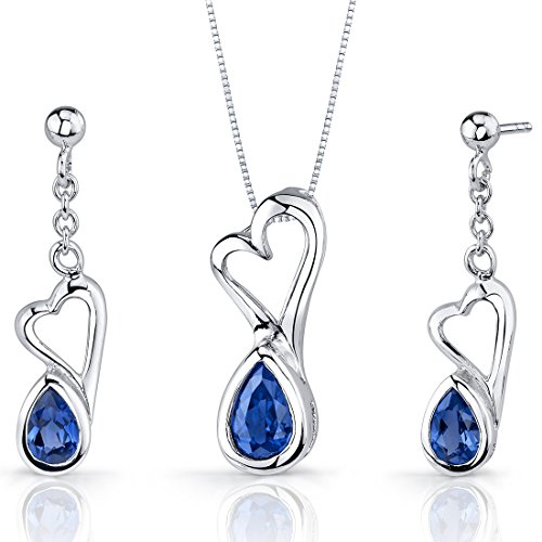 (Created Sapphire Pendant Earrings Necklace Sterling Silver Heart Design 2 Carats)