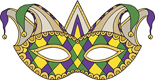 Pretty Intricate Traditional Mardi Gras Style Colored Masquerade Mask Vinyl Sticker (4