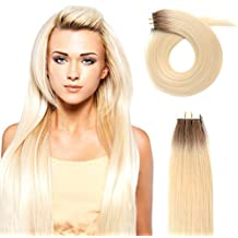 "20"" Tape in Human Hair Extensions 50g Rooted Real Remy Seamless Skin Weft Tape in Extensions Ombre Light Brown to Bleach Blonde #10/613 Pack of 20pcs"