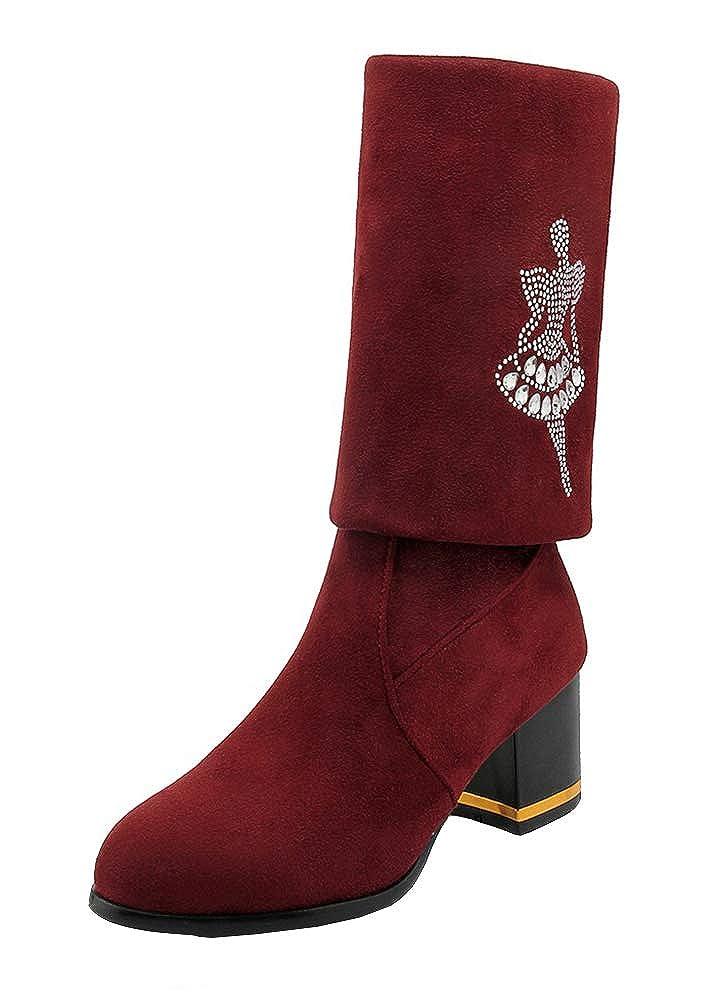 Easemax Damen Strass Strass Strass Nubuk High Top Kniehohe Stiefel Mit Mittelem Blockabsatz 1d8239