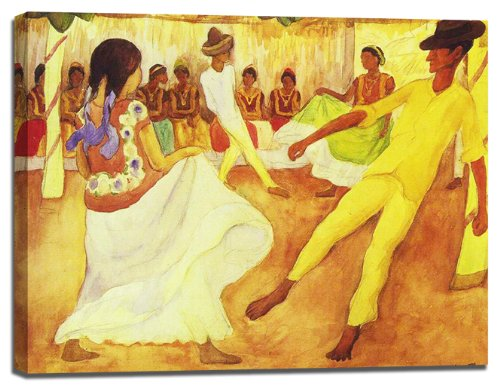 Baile en Tehuantepec by Diego Rivera Stretched Canvas Wall Art Print - 38x26in by Endearing Frames