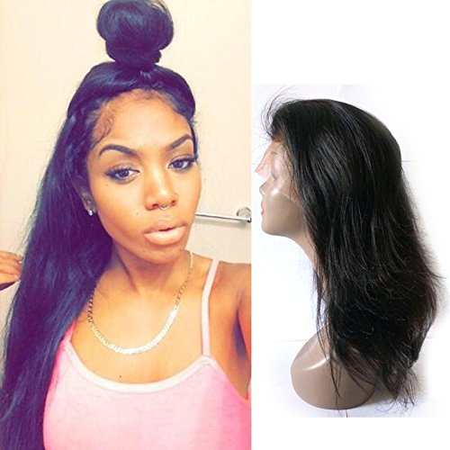 Fanshow Hair Pre Plucked 360 Lace Wig Straight Brazilian Virgin Hair 360 Lace Frontal Wig with Baby Hair 180 Density (16