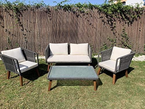Kiefergarden Melbourne Conjunto Jardín Sofá Doble 2 Sillones y ...