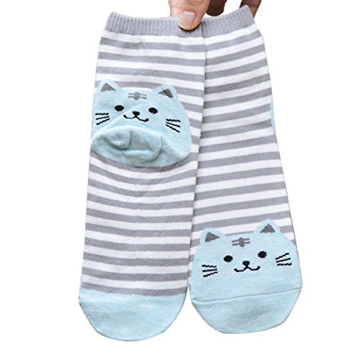 Sankuwen® Womens Striped Animals Cat Footprints Floor Socks (Blue)