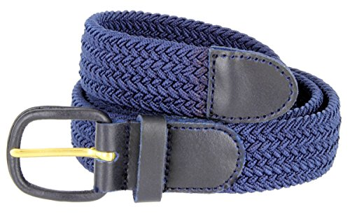 "Belts.com Leather Covered Buckle Woven Elastic Stretch Belt, Navy, (M(34-36"")"