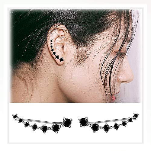 (7 Star Ear Cuffs Climber 925 Sterling Silver Earrings Hypoallergenic Crystal for Woman Girls)